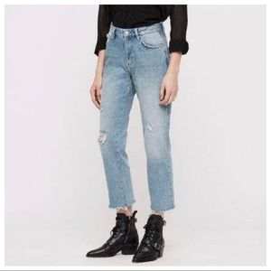 ALLSAINTS Ava Stud High-Rise Cropped Jeans Size 29